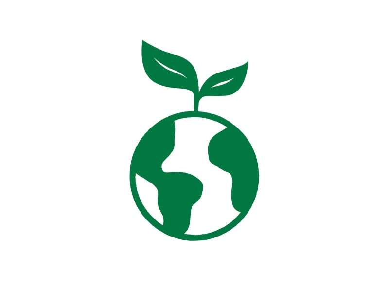 Green planet with a leaf on top
